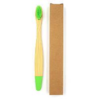 Детская зубная щетка из бамбука Плоская Крашенный низ 14 см