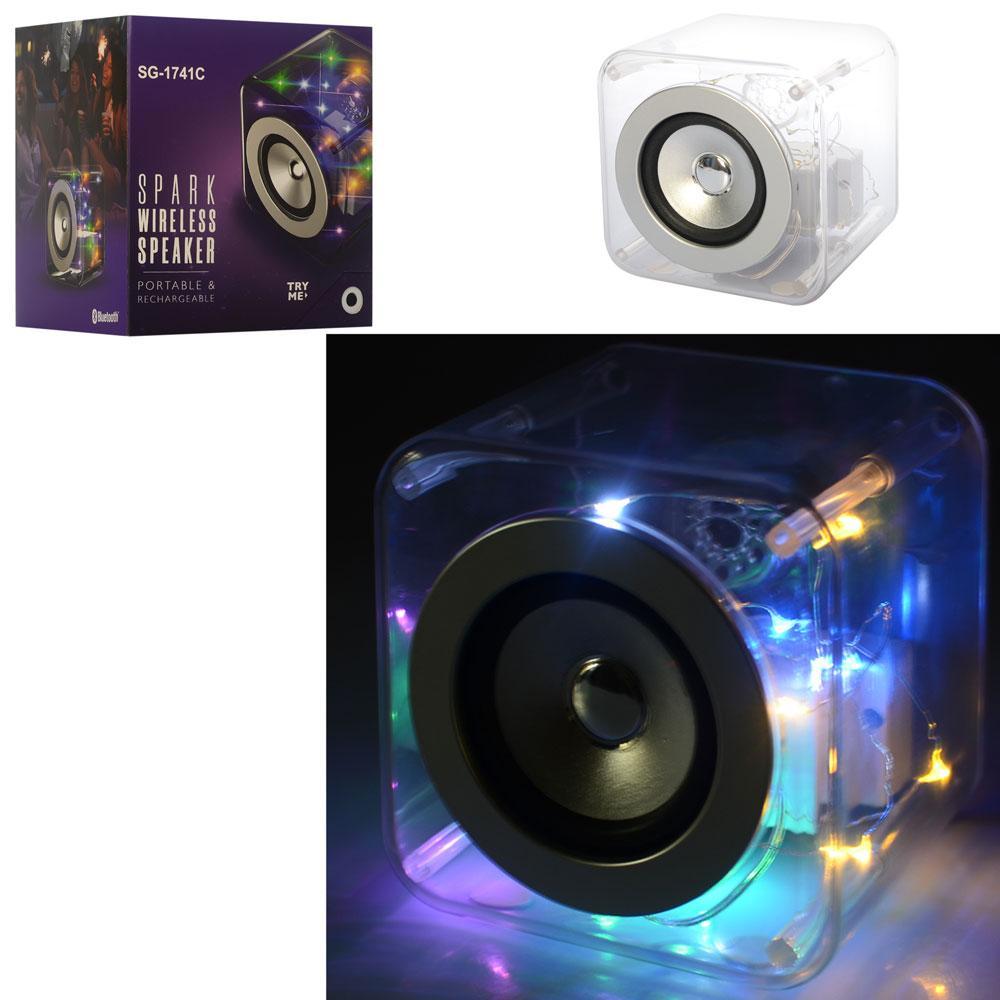 Колонка SG-1741C  куб12,5см,аккум, bluetooth, MP3, 2режима света,USBзаряд,в кор-ке, 16-17-15см