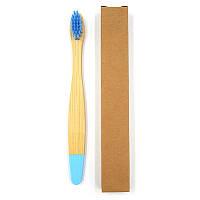 Детская зубная щетка из бамбука Плоская Крашенный низ 14 см Голубой