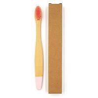 Детская зубная щетка из бамбука Плоская Крашенный низ 14 см Розовый