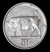 Монета Ирландии 5 пенсов 1992 г. Бык, фото 1