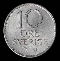 Монета Швеции 10 эре 1968 г., фото 1