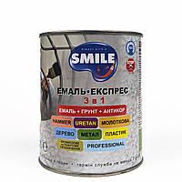 Эмаль Smile 3 в 1 Молотковая антикоррозионная антрацит 0,7кг