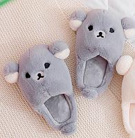 Тапочки мягкие серые Мишки