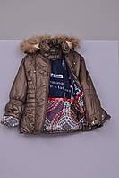 Л-200 Куртка зимняя  для девочки рост 128 и 134 коричневая, фото 1