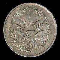 Монета Австралии 5 центов 1977 г., фото 1