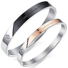 Жорсткі парні браслети для двох закоханих медична сталь позолота гравірування