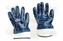 Перчатки c нитриловым покрытием р10 (синие краги с хеддером)