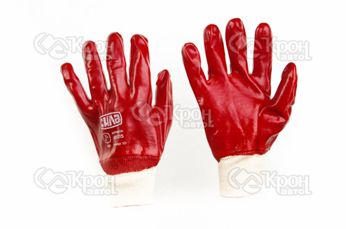Перчатки с ПВХ покрытием р10 (красные манжет с хеддером)