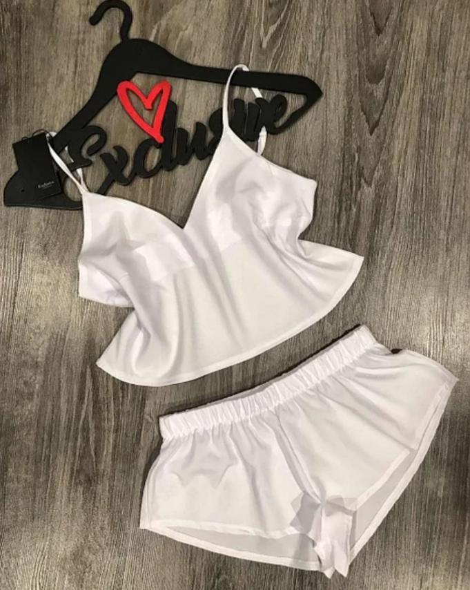 Комплект для дома и сна Exclusive  топ и шортики софт  S белый  (094)