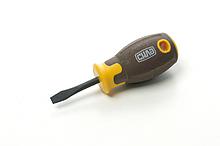Отвертка шлицевая композитная рукоятка CrV SL5x38мм (плоская) (вороненная) СИЛА