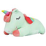 Игрушка подушка плед мятный Единорог, плюшевая декоративная подушка-плед 3в1, фото 3