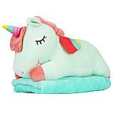 Игрушка подушка плед мятный Единорог, плюшевая декоративная подушка-плед 3в1, фото 2