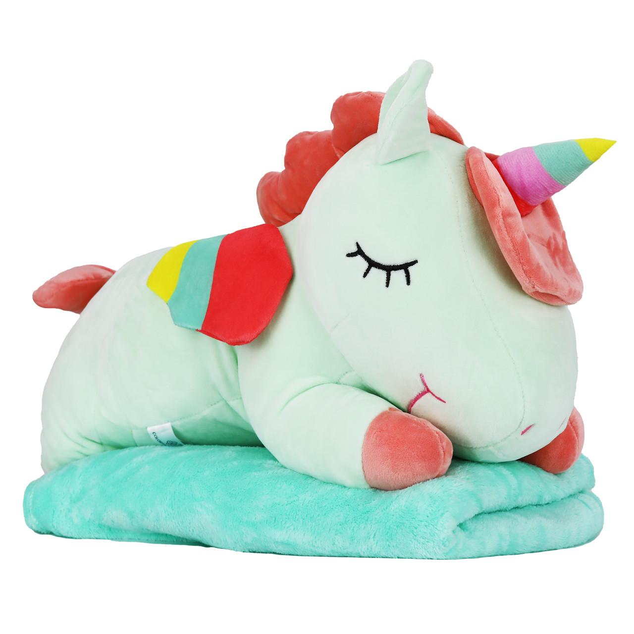 Игрушка подушка плед мятный Единорог, плюшевая декоративная подушка-плед 3в1