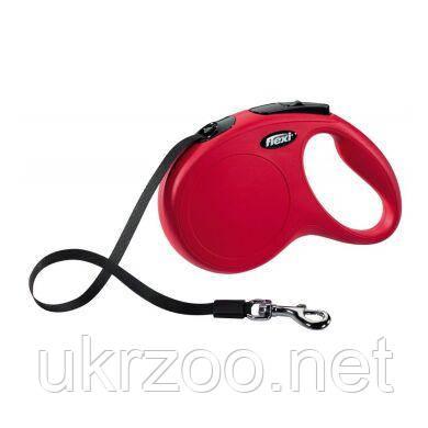 Поводок-рулетка для собак Flexi с лентой «New Classic» M 5 м / 25 кг (красная) 11713