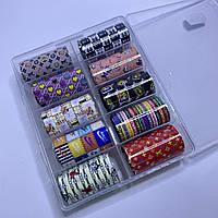 Фольга для дизайна ногтей  в контейнере 10шт  №102