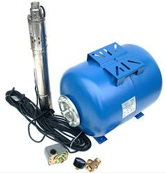 Погружной глубинный насос для скважин Powercraft 3S комплект (насос, бак, фурнитура)