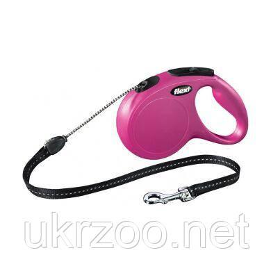 Поводок-рулетка для собак Flexi с тросом «New Classic» M 5 м / 20 кг (розовая) 11796