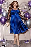 Велюровое женское платье с длинными рукавами из сетки 48 по 62 размер, фото 1