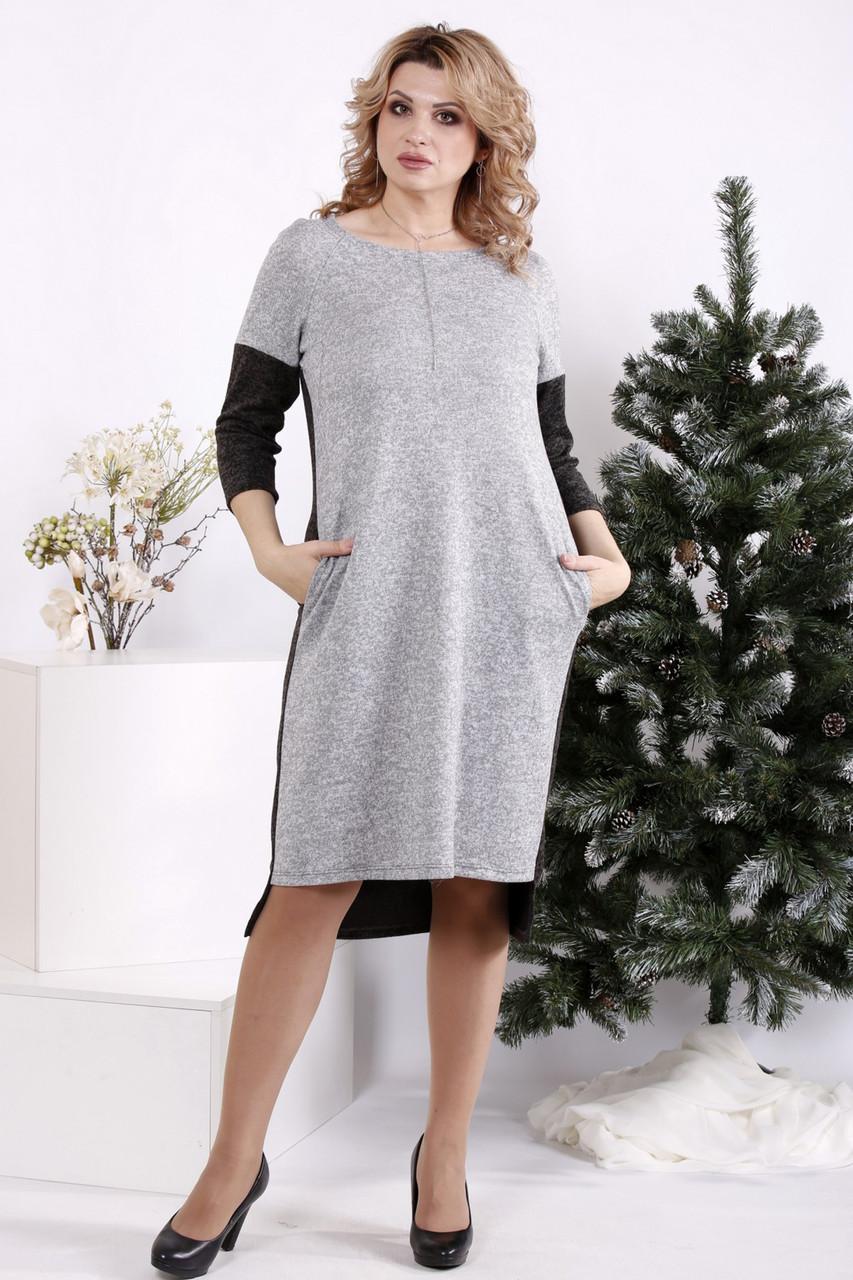 Платье для полных девушек прямое комбинированное серое