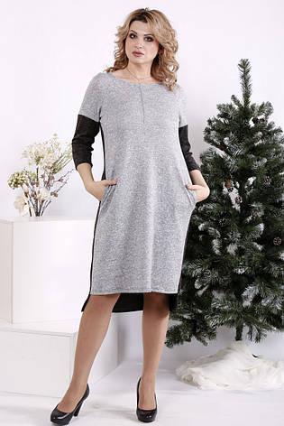 Платье для полных девушек прямое комбинированное серое, фото 2