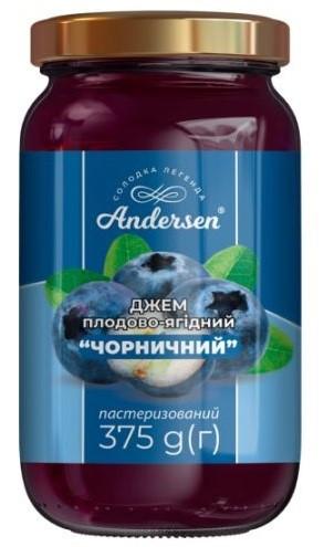 """Джем плодово-ягодный """"Черничный"""" ТМ """"Andersen"""" 375 г."""