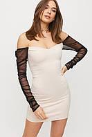 Облегающее светлое замшевое мини платье, фото 1