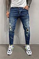 Джинсы мужские синие зауженные рванные с имитацией дырок модные синие мужские джинсы с дырками 32 размер