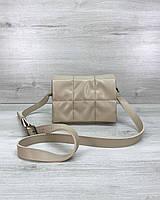 Бежевая женская маленькая сумка кросс-боди через плечо 62709, фото 1