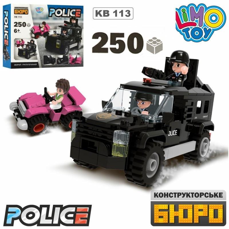 Конструктор Поліція,джип,квадроцикл,фігурки,250 дет.,в кор-ці,25х19,5х5см №KB113(30)