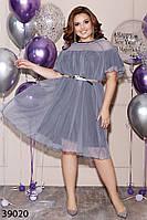 Романтичное женское платье свободного кроя 48 по 62 размер, фото 1
