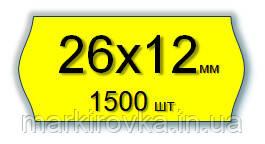 Етикет-стрічка 26х12 мм для однорядкових етикет-пістолетів та нумераторів МЕТО, Blitz, OPEN і т. д. Колір - жовтий