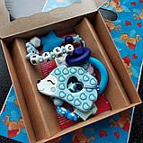 """Именной силиконовый грызунок Ярмирина """"Голубой Ёжик МАКС"""" с держателем на прищепке, фото 4"""