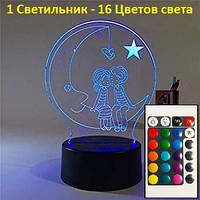 3D Светильник Молодежь. 1 Светильник - 16 разных цветов света, Подарок для девушки
