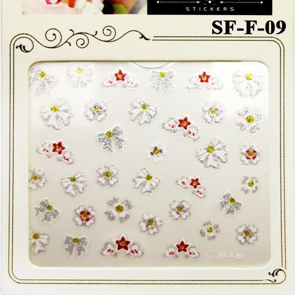 Глиттерные Самоклеющиеся 3D Наклейки для Ногтей Nail Sticrer SF-F-09 Белые Бантики и Цветы, Дизайн Ногтей