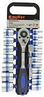 Набор головок с трещоткой и удлинителем 21 предмет! Профессиональный инструмент King Roy 021-MJA