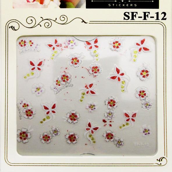 Глиттерные Самоклеющиеся 3D Наклейки для Ногтей Nail Sticrer SF-F-12 Бабочки и Цветы, Дизайн Ногтей, Маникюр