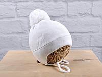 Зимняя шапочка для новорожденных «Albie» на махре (белая), фото 1