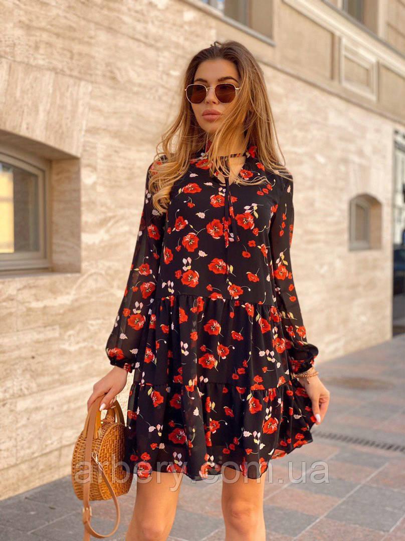 Шикарное шифоновое платье с цветами Oversize
