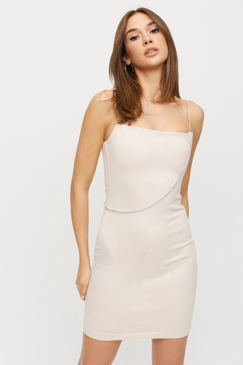 Світле замшеве міні сукня-футляр на бретельках