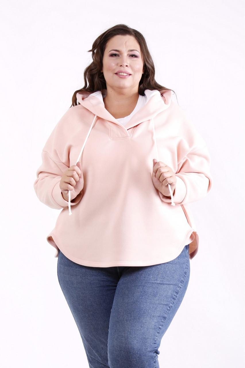 Женская флисовая кофта с капюшоном большие размеры розовая