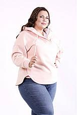 Женская флисовая кофта с капюшоном большие размеры розовая, фото 2