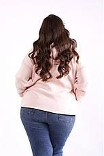 Женская флисовая кофта с капюшоном большие размеры розовая, фото 3