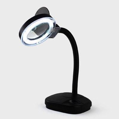 Лупа-лампа 2+20 диоптрий 90мм с ЛЕД подсветкой настольная YIHUA-239L