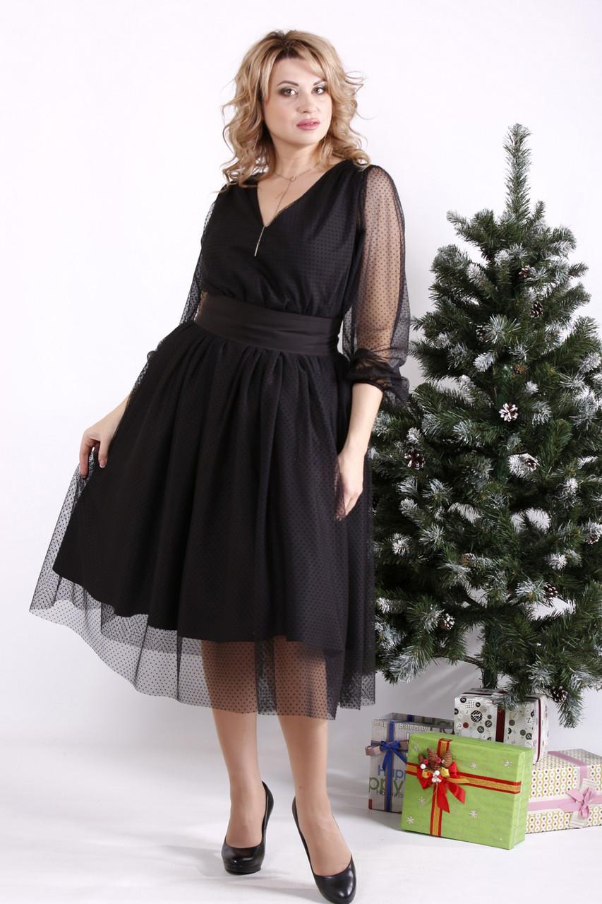 Черное платье с пышной юбкой больших размеров