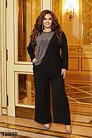 Изящный брючный костюм двойка с люрексовой вставкой на блузке и широкими брюками с 48 по 62 размер, фото 1