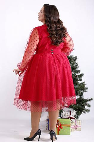 Нарядное платье для полных женщин красное с пышной юбкой, фото 2
