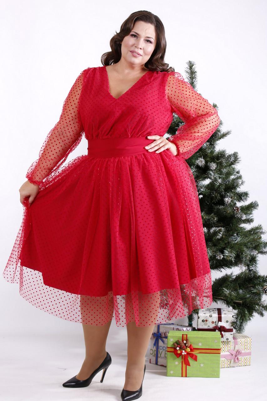 Нарядное платье для полных женщин красное с пышной юбкой