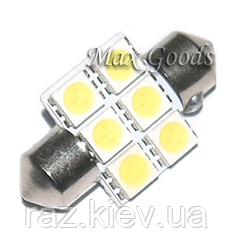 Светодиодная лампа для салона авто белый супер яркий 31 мм 5050 СМД 6 из светодиодов