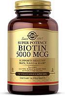 Биотин, Solgar, 5000 мкг, 50 вегетарианских капсул, фото 1